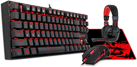 Redragon K552-BB Mechanical Gaming Keyboard and Mouse Combo & Large Mouse Pad & PC Gaming Headset with Mic, 87 Key RED LED Backlit Keyboard for Windows PC (Keyboard, Mouse, Headset Mousepad Set)