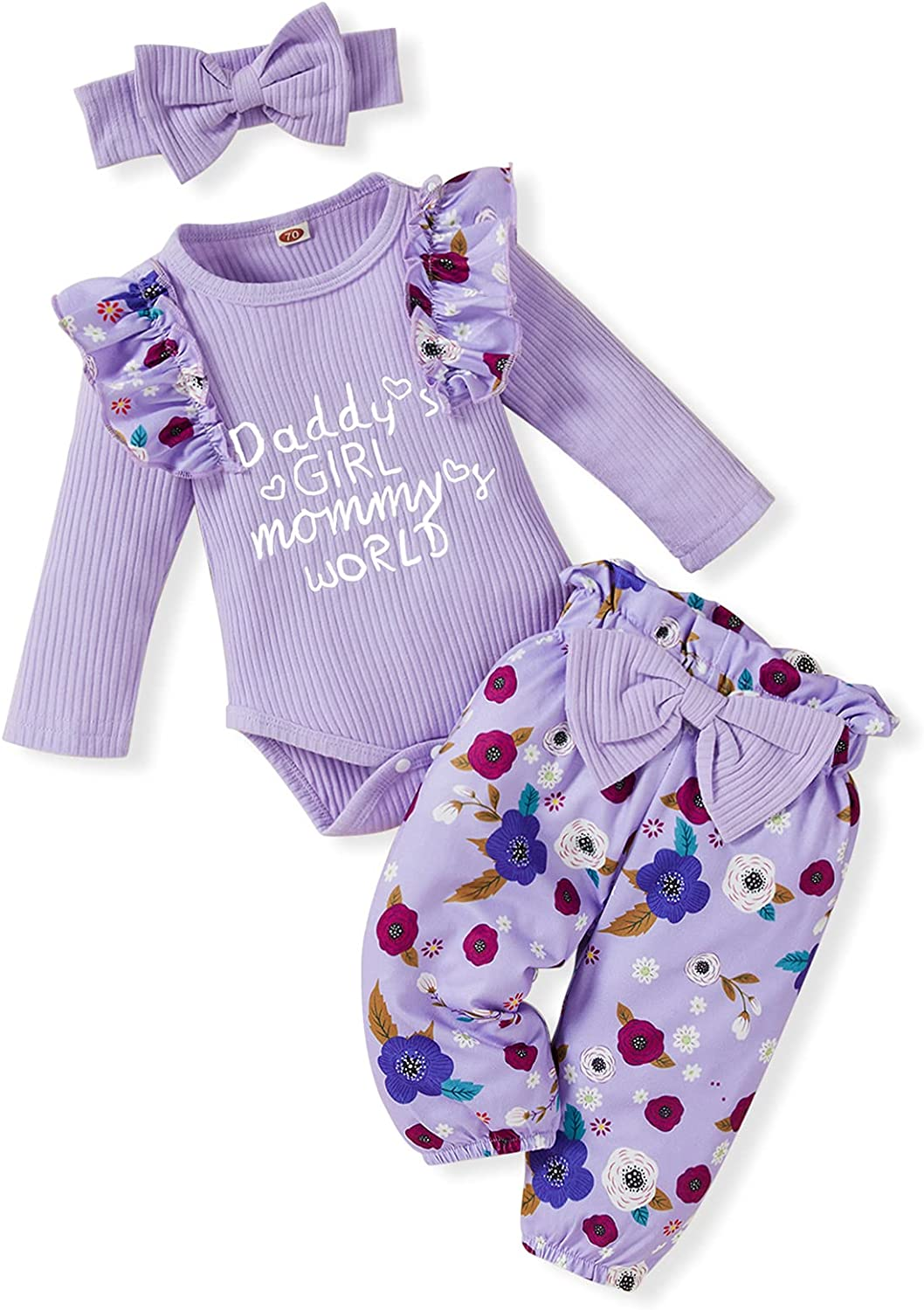 Newborn Baby Girl Clothes Infant Ruffle Long Sleeves Knit Romper Floral Pants Headband 3Pcs Casual Outfits