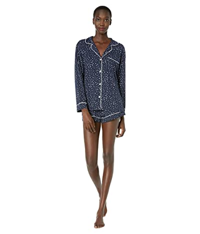 Eberjey Sleep Chic The Long Sleeve Short Boxed Pajama Set (Estrella Navy/Ivory) Women