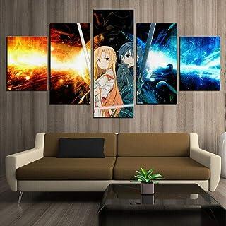 XIAYF Sword Art Online Anime 5 PièCes Impression Sur Toile Tableaux HD, Loisirs Créatifs Painting Cadre Decoration Murale ...