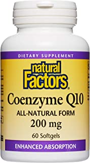 Natural Factors, Coenzyme Q10 200mg, CoQ10 Supplement for Energy, Heart and Antioxidant Support, 60 softgels (60 servings)