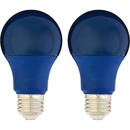 Amazon Basics 60 Watt Equivalent, Non-Dimmable, A19 LED Light Bulb   Blue, 2-Pack