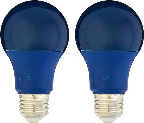 Amazon Basics 60 Watt Equivalent, Non-Dimmable, A19 LED Light Bulb | Blue, 2-Pack
