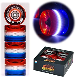 Sunset Skateboards Merica 59mm Cruiser LED Light-Up Wheels Set with ABEC-7 Carbon Steel Bearings (4-Pack)