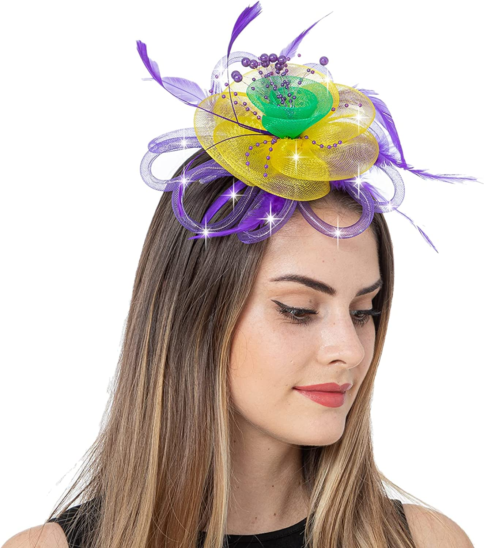 JAWEAVER LED Light Up Fascinators Hat Fascinators for Women Headband Tea Party Headwear Feather Headpiece