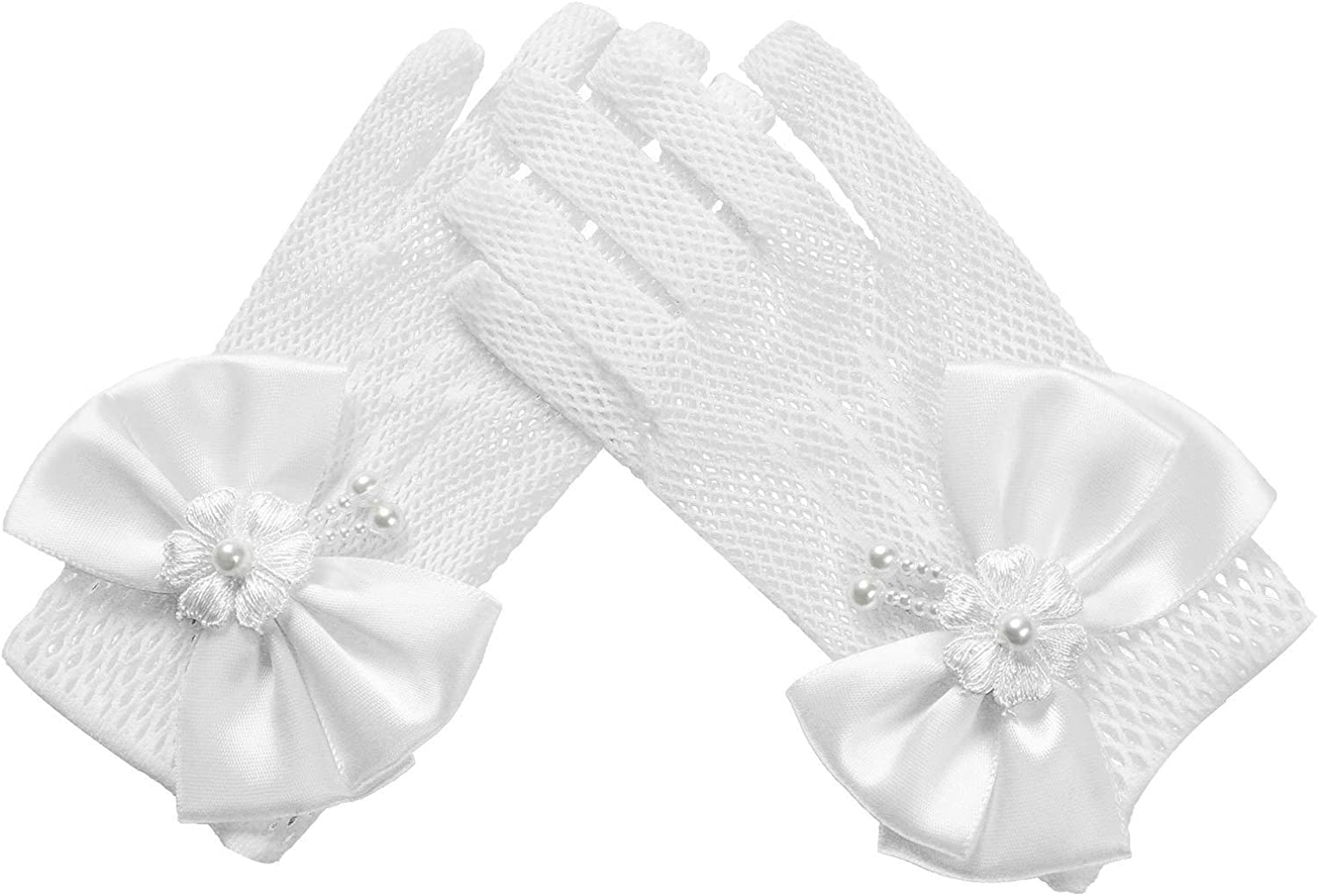 YOOJIA Kids Flower Girls 67% OFF of fixed price Max 47% OFF Bow Tie Princess Gloves Lace Pearls Spe