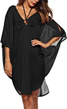 Kistore Womens Loose Fit Half Sleeve Bikini Swimsuit Cover Up Flowy Long Beach Dress with Tassel