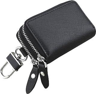 La Ventus キーケース メンズ レディース スマートキーケース 革 ダブルファスナー カラビナ付き お祝い プレゼント 2つ 鍵が同時収納 (ブラック)