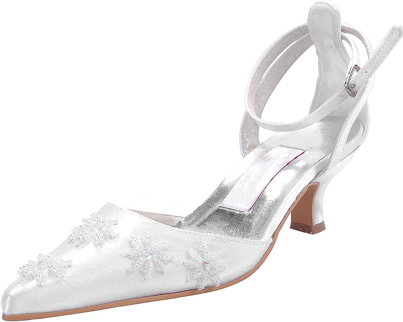 Minishion MZ580 Women's Kitten Heel Handmade Satin Bridal Wedding Party Pumps shoes