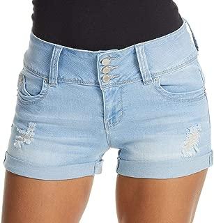 YMI Junior's Wanna Betta Butt 3-Button Mid-Rise Rolled Cuff Shorts