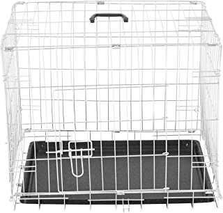 PawHut Jaula Plegable de Metal para Mascota Perro 2 Puertas Transportín 5 Medidas 2 Colores Opcional 106x71x76cm Plateado