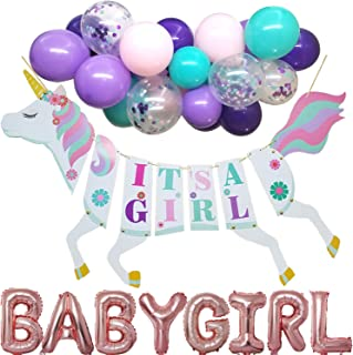 Baby Shower Party Supplies - Unicorn It's a Girl Banner with Baby Girl Foil Balloons