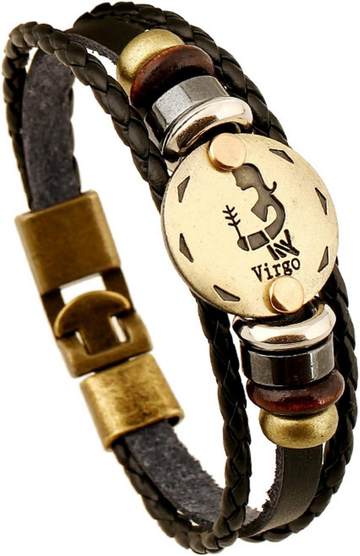 FLDC 12 Constellation Zodiac Sign Leather Bracelet Birthday Gifts for Men Women Boys Girls