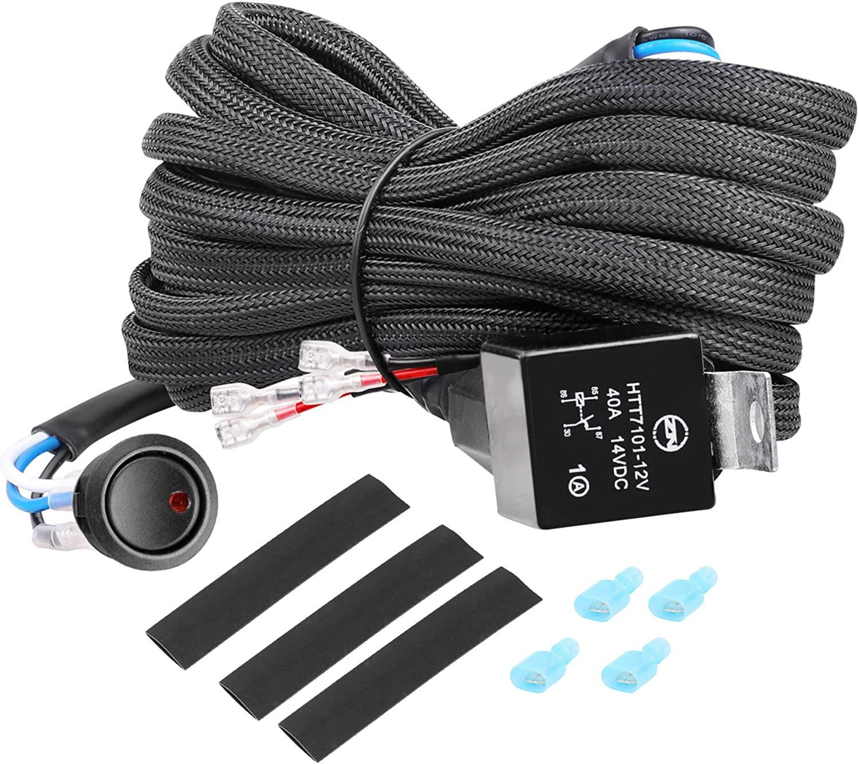 Wiring Harness, OFFROADTOWN 2 Lead Heavy Duty Wiring Harness Kit for Led Work Light bar 12V 40A Fuse Relay Rocker Switch Relay for Trucks ATV UTV Boat