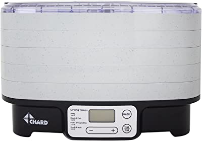 CHARD 5 bandejas deshidratador de alimentos, 15.157 pulgadas x 12.008 pulgadas, gris