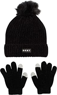 DKNY Girls Soft Chenille Beanie Hat and Gloves Set