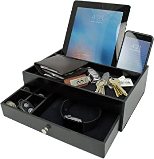 Ideas In Life Valet Drawer Charging Station – Black Nightstand Organizer Wallet and Key Tray Holds Watches, Jewelry, Tablet - 5 Compartment Cell Phone Holder for Men and Women