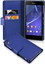 Cadorabo Case Works with Sony Xperia Z2 (Design Book Structure) - with 2 Card Slots - Wallet Case Etui Cover Pouch PU Leather Flip NAVY-BLUE DE-101660