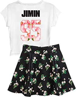 BTS Suga Jin Jimin Jung Kook Printed T-Shirt + Floral Skirt Two Piece Suit