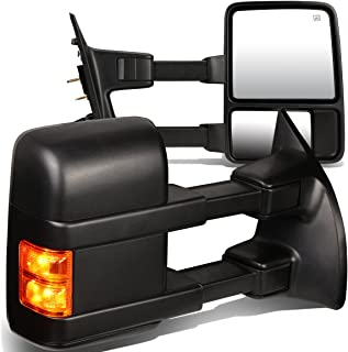 For Ford Super Duty 2nd-3rd Gen Pair of Power+Heated+Turn Signal Light Manual Folding Towing Side Mirror (Black)
