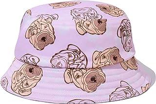 PattyCandy Light Pink Bulldog Pattern Pet Kids Inside Out Bucket Hat- M
