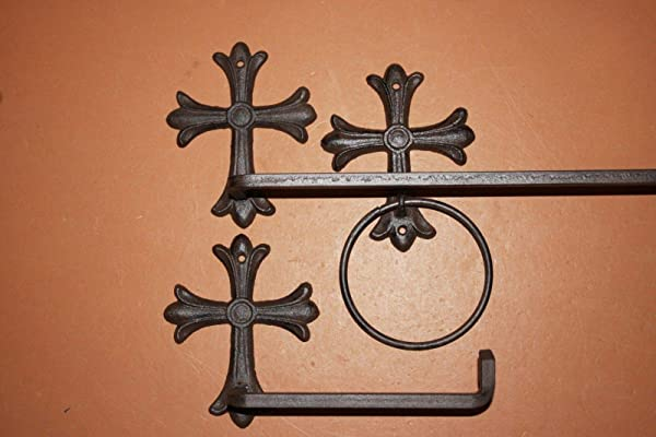 Southern Metal 西班牙 Mission Cross Bath Set 毛巾架 Ring 厕纸架 Bundle 3 Pieces