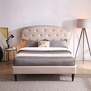 Cranleigh Upholstered Platform Bed | Headboard and Metal Frame with Wood Slat Support | Linen, Queen