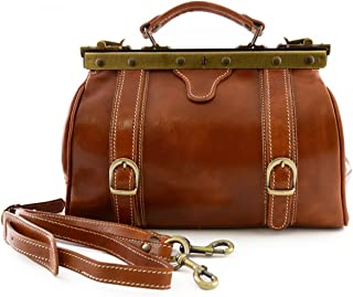 Borsa Medico In Vera Pelle, 2 Fibbie Frontali Colore Cognac - Pelletteria Toscana Made In Italy - Business