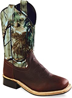 Old West Boys' Camo Western Boot Square Toe
