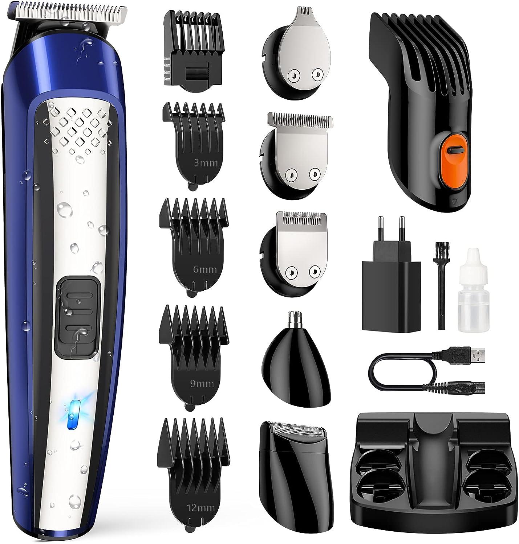 Cortapelos para hombre, profesional, cortapelos eléctrico, cortapelos de precisión, recortador de nariz, multifunción, apto para barba, pelo y nariz, impermeable de precisión, 11 en 1