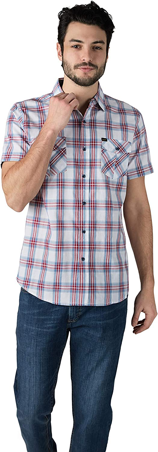 Price reduction Lee Men's Short Sleeve Charlotte Mall Button Regular Fit Shirt Up