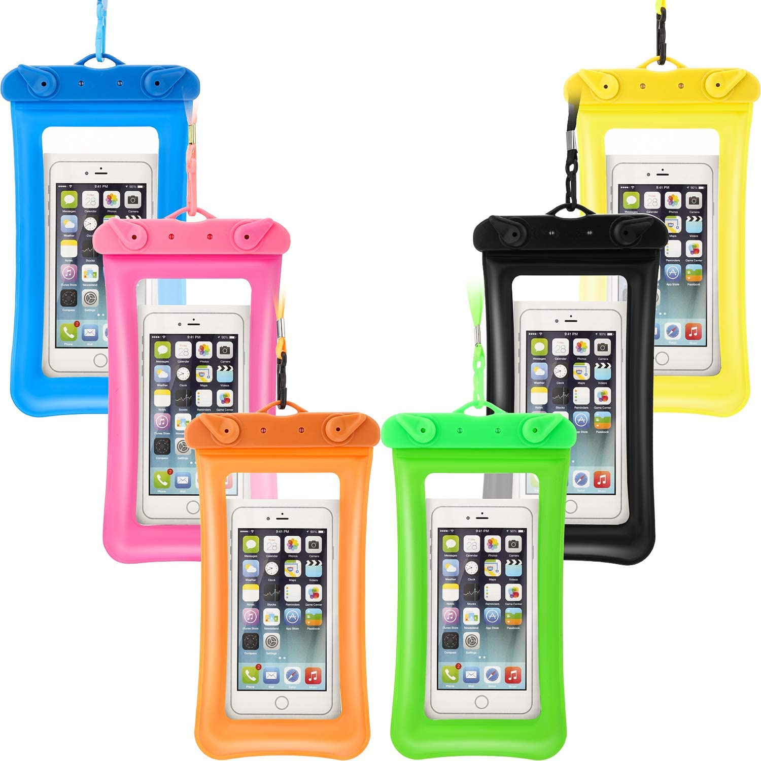 6 Piece Floatable Waterproof Phone Pouch Floating Waterproof Cell Phone Case Universal Cellphone Dry Bag Case with Lanyard for Smartphone up to 6.5 Inch (Purple, Green, Rose Red, Blue, Black, Orange)