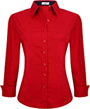 Red Scarlet Cotton Long Collared Blouse Shirt 34 Sleeve US 8