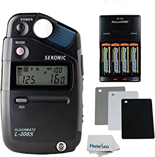 Sekonic L-308S Flashmate Digital Incident, Reflected & Flash Light Meter + 4 AA Ultra High Capacity Batteries with Travel Quick Charger + Digital Grey Card Set with Lanyard + Photo4Less Cleaning Cloth