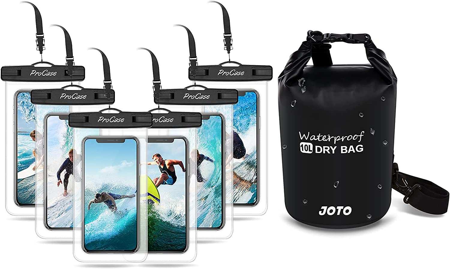 ProCase (6 Pack) Universal Waterproof Pouch Cellphone Dry Bag Phones up to 7.0