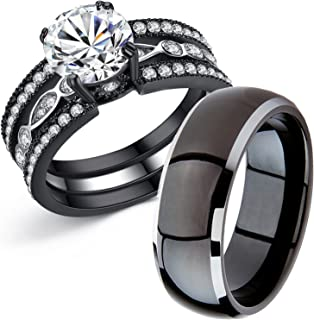 MABELLA Couple Rings Black Men's Titanium Matching Band Women CZ Stainless Steel Engagement Wedding Sets…