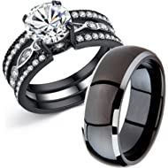 MABELLA Couple Rings Black Men's... MABELLA Couple Rings Black Men's Titanium Matching Band Women CZ Stainless Steel Engagement...