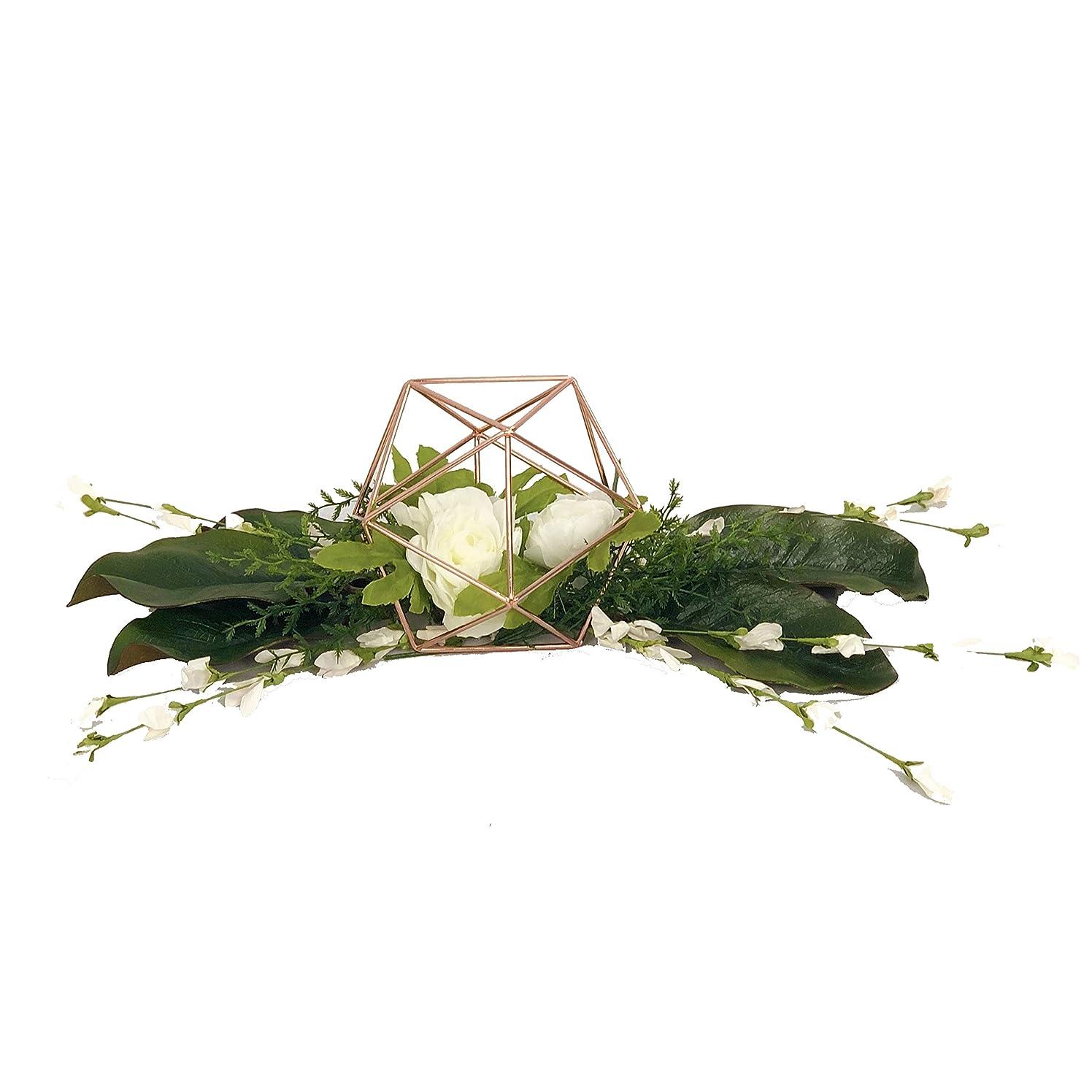 Geometric Table Centerpiece Kit with Flowers, Rose Gold Metal Geometric Centerpiece with Flowers, Centerpieces for Wedding Table, Rose Gold Geometric Decor