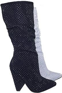 Retro Rhinestone Embellished Glitter Boots On Cone Tapered Heel