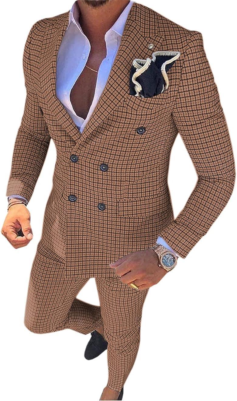 Dennis dress Mens Suit Plaid Double Breasted Flat 2 Piece for Wedding Suit (Blazer +Pants)