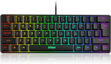 RedThunder 60% Gaming Keyboard, RGB Backlit Ultra-Compact Mini Keyboard, Quiet Ergonomic Water-Resistant Mechanical Feelin...