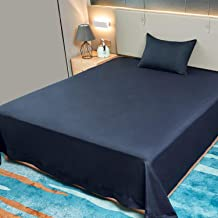 Allo Queen Size Flat Sheet Only, Navy Sheets Brushed Microfiber 1800 Bedding Top Sheet, Ultra Soft Bed Flat Sheets with Stylish 4 in Hem - Wrinkle, Fade, Stain Resistant, Hypoallergenic - 1 Piece