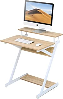 FITUEYES Computer Office Desk with Storage Shelf Modern Z-Shaped Working Table fit Study/Eating/Gaming for Small Spaces (Oak)