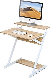 FITUEYES Bureau d'Ordinateur avec Clavier Bois Blanc et Chêne Table d'écriture en Forme de Z Poste de Travail pour Bureau ...