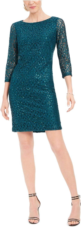 Jessica Howard Women's Long Sleeve Slace T-Body Shift Dress