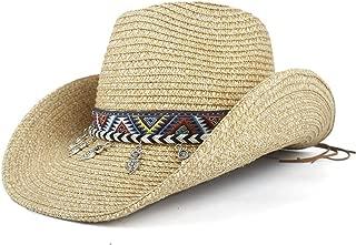 Sun Hat for men and women Fashion Bohemian Tassel Women Hollow Western Cowboy Hat Lady Summer Straw SombreroCap Beach Cowgirl Jazz Sun Hat Panama Hat Size 56-58CM