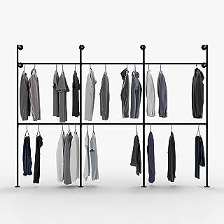 Pamo Tringle à vêtements design loft industriel – KIM III Double - Penderie pour garde-robe mural I, porte-manteau pour ch...