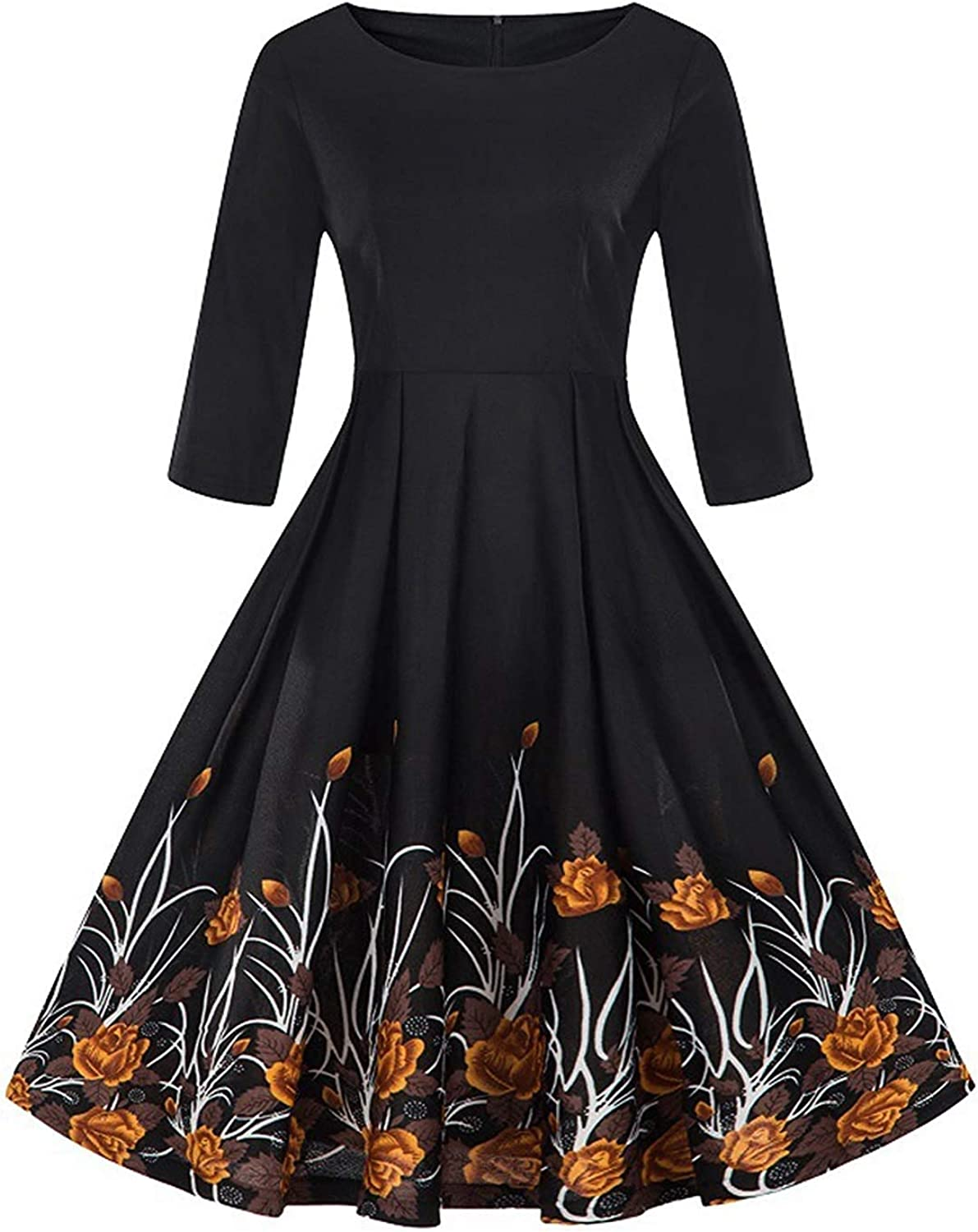 Flextiicinax Women's 1950s Vintage Floral Half Sleeve A Line Swing Cocktail Party Tea Dress