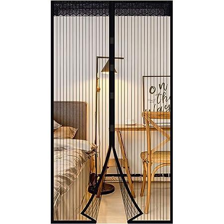 90 * 210cm Porte de Terrasse Moustiquaire de Porte Magn/étique Rideau de Porte Antimoustique avec Fermeture Aimant/ée Sans Per/çage pour Porte de Balcon porte Cave