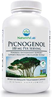 Nature's Lab Pycnogenol 100mg - 30 Capsules (1 Month Supply) for Circulation Blood Pressure Joint & Skin Health (ZNLB14957)